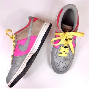 Nike Women's Dunk Low Gray Pink Leather Sneakers